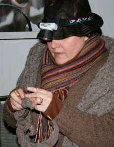 Norah knits by headlamp - photo, John Ranta