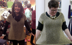 Left: Gail Cardoso models Pause at Eva's Yarn Shop.Right: Norah models Pause at Webs.