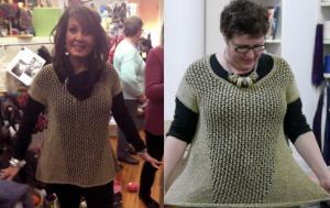 Left: Gail Cardoso models Pause at Eva's Yarn Shop.Right: Norah models Pause at Webs.