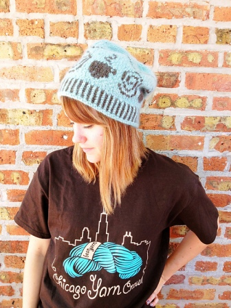 Coffee & Yarn Hat by Kathy Ticho (worn by Knitche employee, Beth)