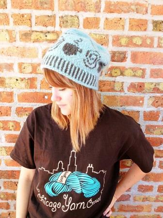 Coffee & Yarn Hat by Kathy Ticho (worn by Knitche employee, Beth)