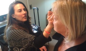 Jennie Kay gets Nancy camera ready.