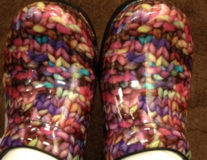 """Diane's """"funky knitting shoes"""" inspired her design."""