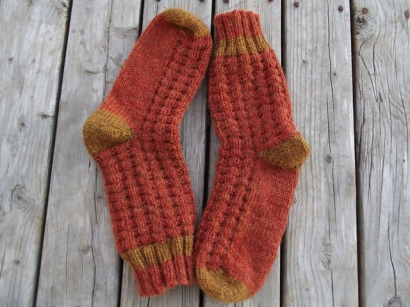 Breakfast Waffles Socks by Rosencrantz Knits