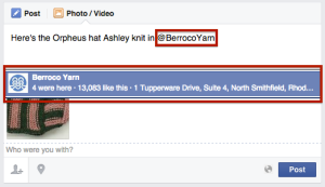 "Type ""@BerrocoYarn"" & select our page from drop down list"