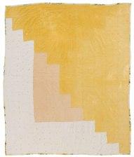 "Linda Pettway, born 1929. ""Logcabin"" single block variation, tied with yarn, 1929"