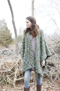 Forest Floor ruana knitting pattern in Berroco Gusto