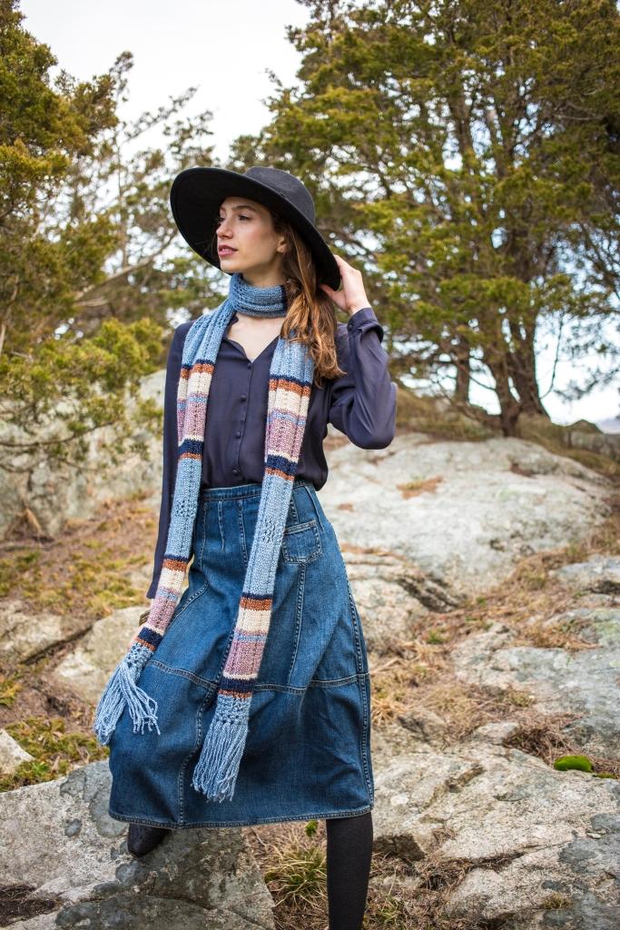 Aini Scarf knitting pattern in Berroco Ginkgo