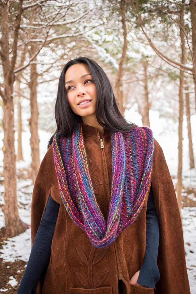 Kaleen cowl knitting pattern in Berroco Millefiori