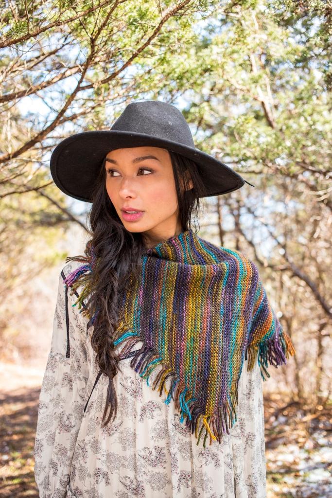 Kveta shawl knitting pattern in Berroco Millefiori