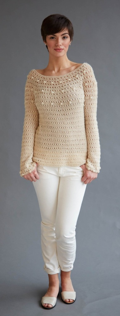 Ava sweater crochet pattern in Berroco Folio
