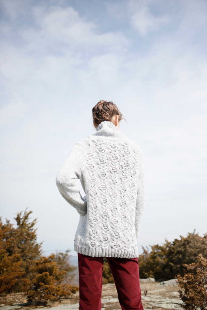 Woodbine sweater knitting pattern in Berroco Tuscan Tweed