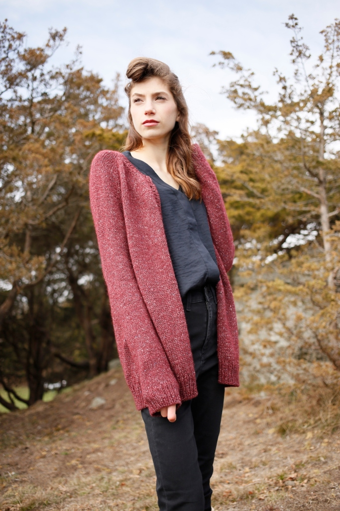 Harebell cardigan knitting pattern in Berroco Tuscan Tweed