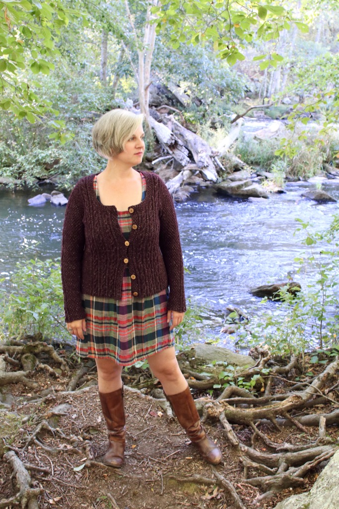 Adelaide free cardigan knitting pattern in Berroco Tuscan Tweed