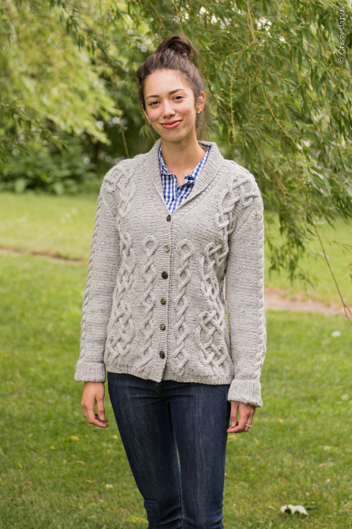 Wickford cardigan knitting pattern in Berroco Tuscan Tweed
