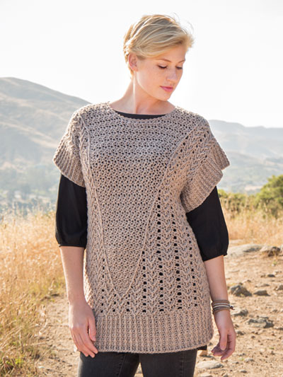 Vista Point Vest crochet pattern by Jill Hanratty, crocheted with Berroco Vintage DK
