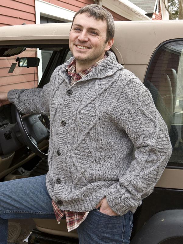 Daron men's sweater knitting pattern in Berroco Remix