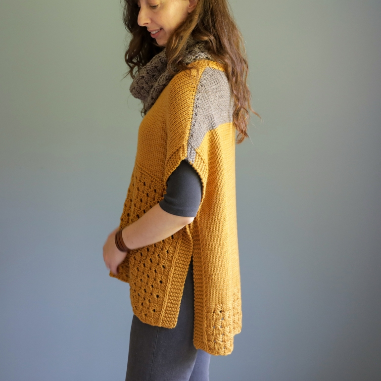 side view of the happy harvest poncho by elizabeth smith
