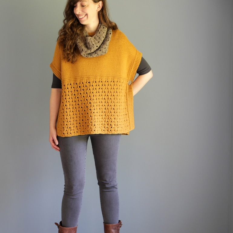 photo of the happy harvest poncho and cowl by elizabeth smith