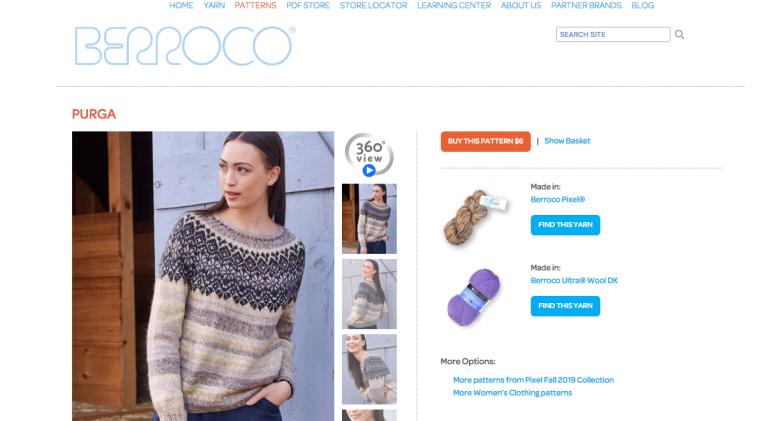screenshot of Berroco Pixel Purga sweater knitting pattern