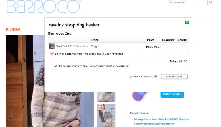 screenshot of berroco shopping cart